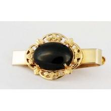 Pince à cravate à cabochon obsidienne sur corps doré