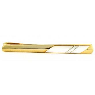 Pince à cravate vintage dorée et cabochon de nacre