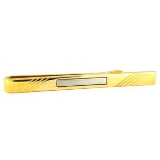 Pince à cravate plaquée or à cabochon blanc