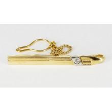 Pince à cravate or plaqué, argent et cristal de roche