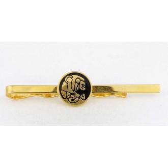 Pince à cravate tigre stylisé métal doré