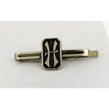 Pince à cravate ancienne à motif lettre H métal blanc