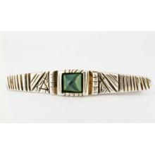 Pince à cravate argent massif et gemme verte