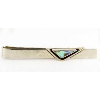 Pince à cravate vintage nacre d'ormeau et métal blanc