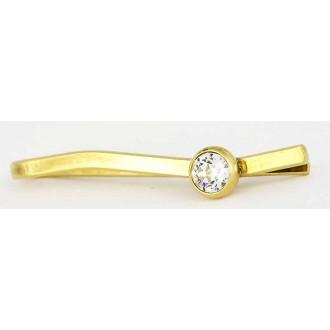 Pince à cravate dorée avec cristal taillé