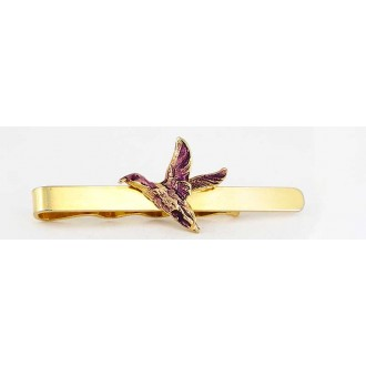 Pince à cravate en métal doré avec oiseau volant
