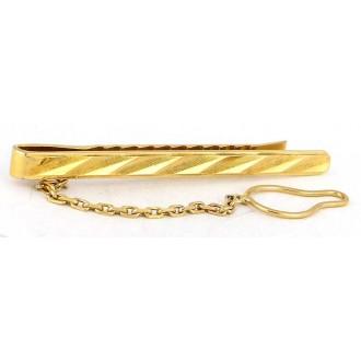 Pince à cravate vintage en or plaqué et chainette