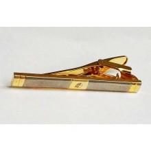 Pince a cravate métal blanc et doré, cabochon de cristal
