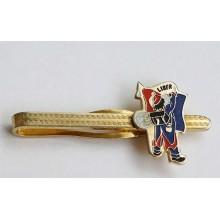 Pince à cravate en métal doré, peinture et personnage